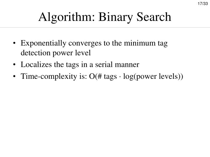 Algorithm: Binary Search