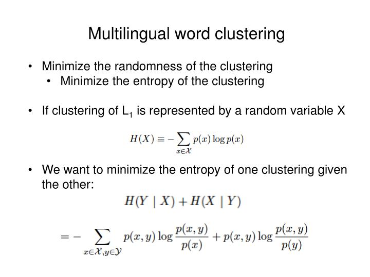 Multilingual word clustering