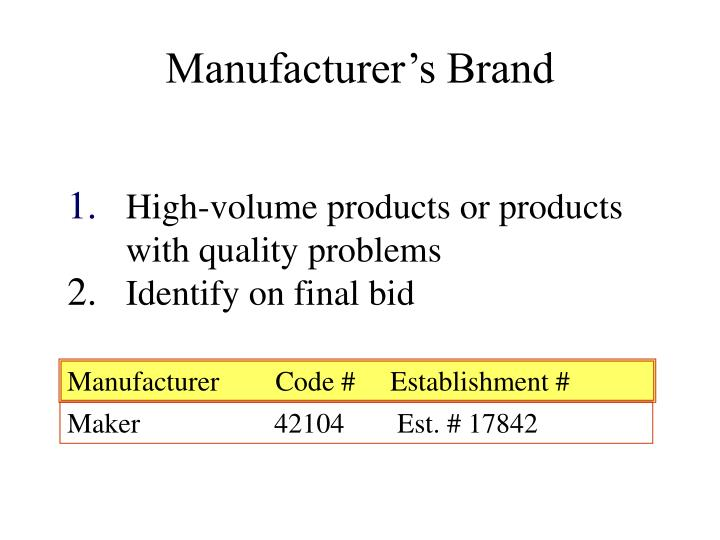 Manufacturer's Brand
