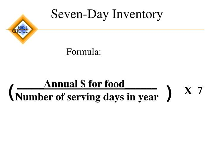 Seven-Day Inventory