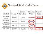 standard stock order form
