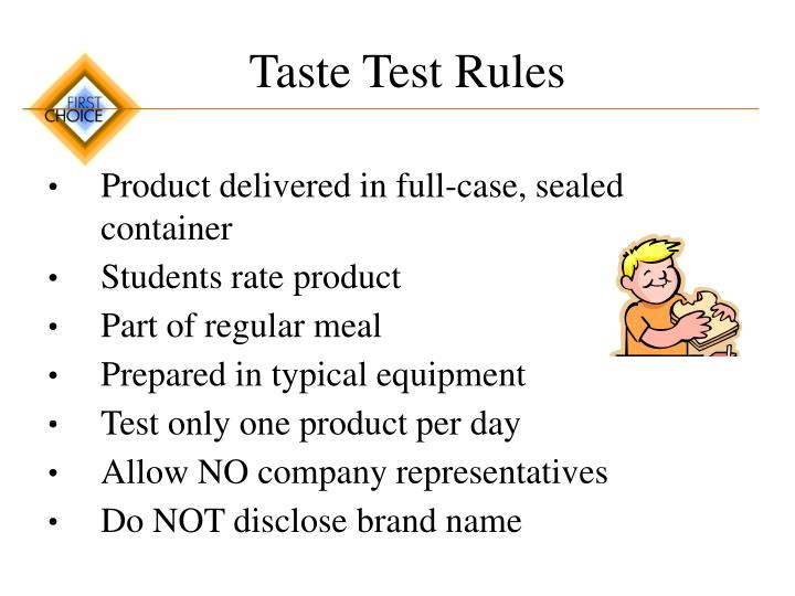 Taste Test Rules