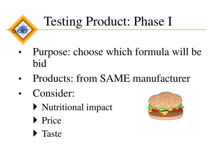 Testing Product: Phase I