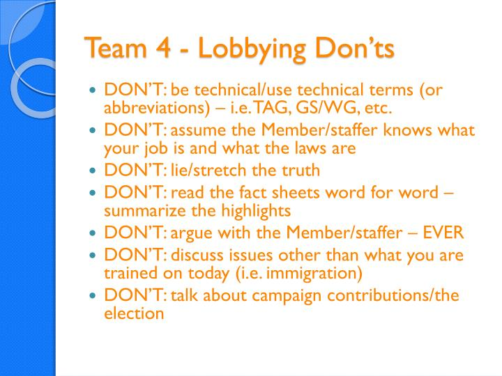 Team 4 - Lobbying Don'ts
