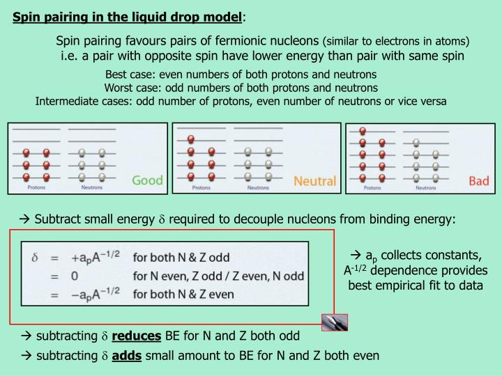 Spin pairing in the liquid drop model
