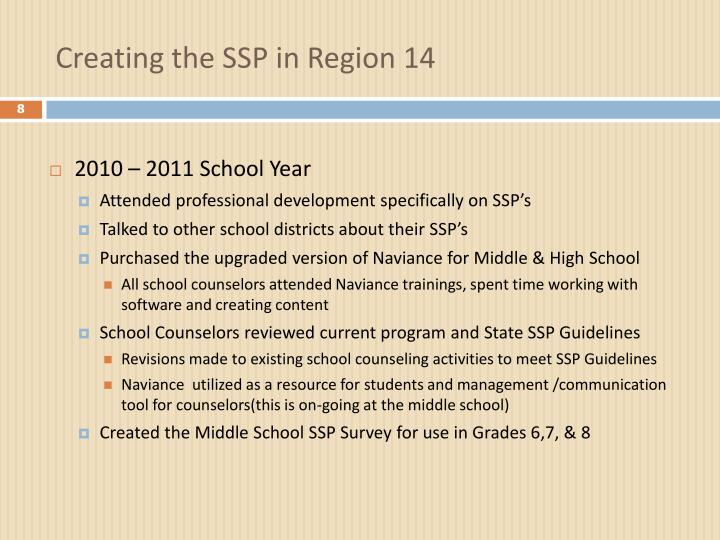Creating the SSP in Region 14