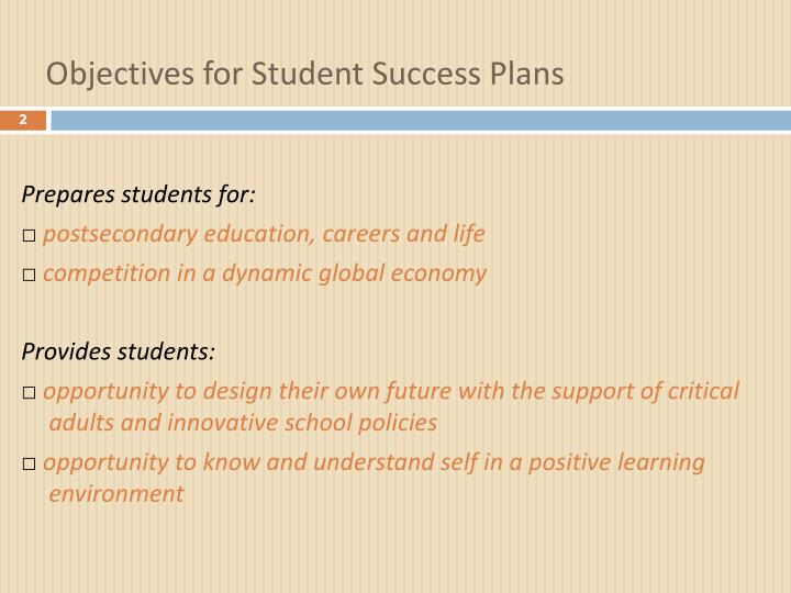 Objectives for Student Success Plans