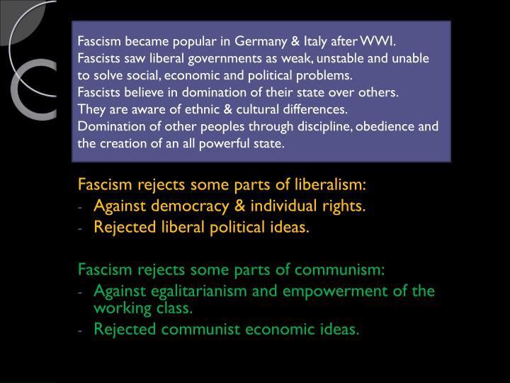 Fascism became popular in Germany & Italy after WWI.