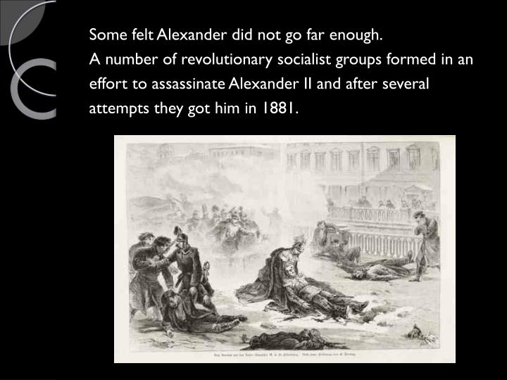 Some felt Alexander did not go far enough.