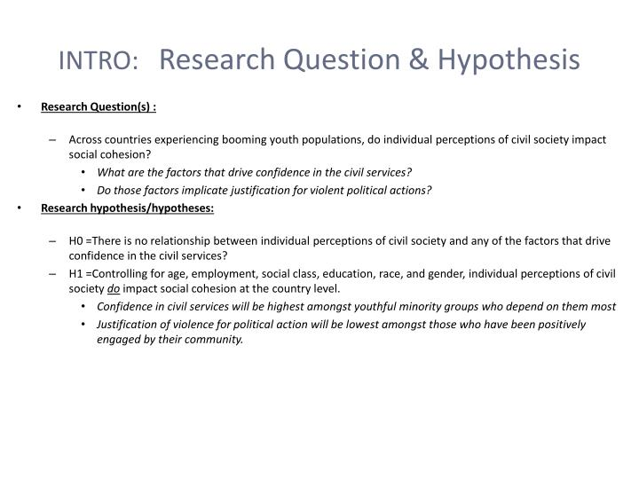 Intro research question h ypothesis