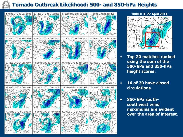Tornado Outbreak Likelihood: 500- and 850-hPa Heights