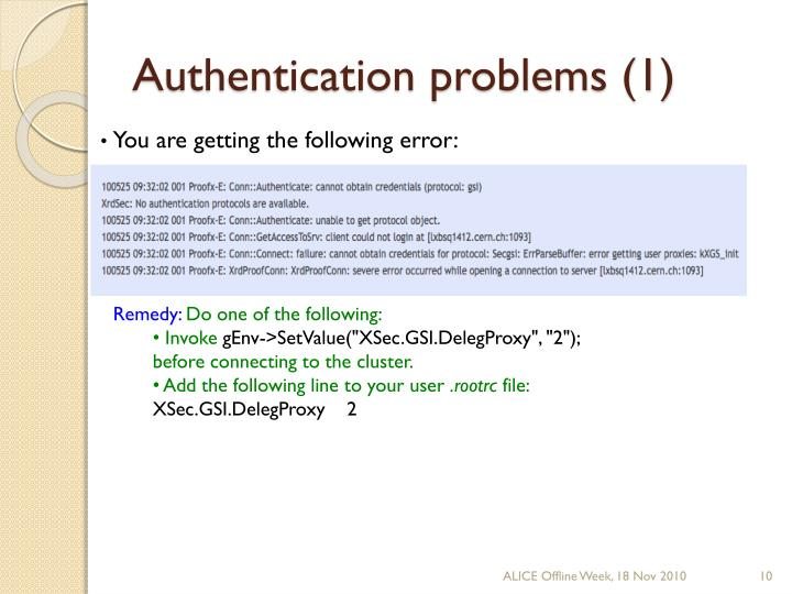 Authentication problems (1)