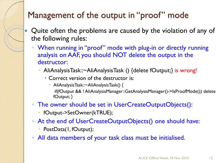"Management of the output in ""proof"" mode"