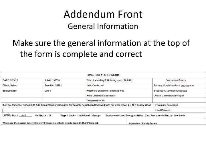 Addendum Front