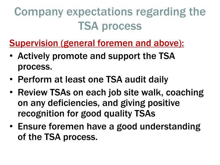 Company expectations regarding the TSA process