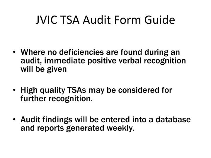 JVIC TSA Audit Form Guide