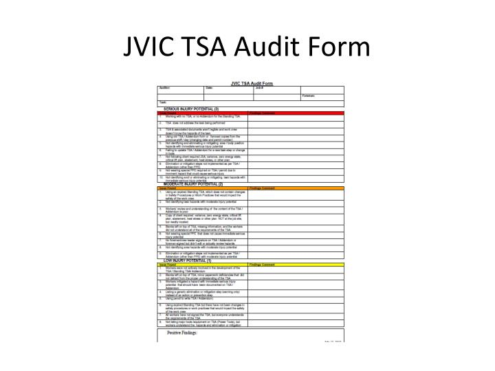 JVIC TSA Audit Form
