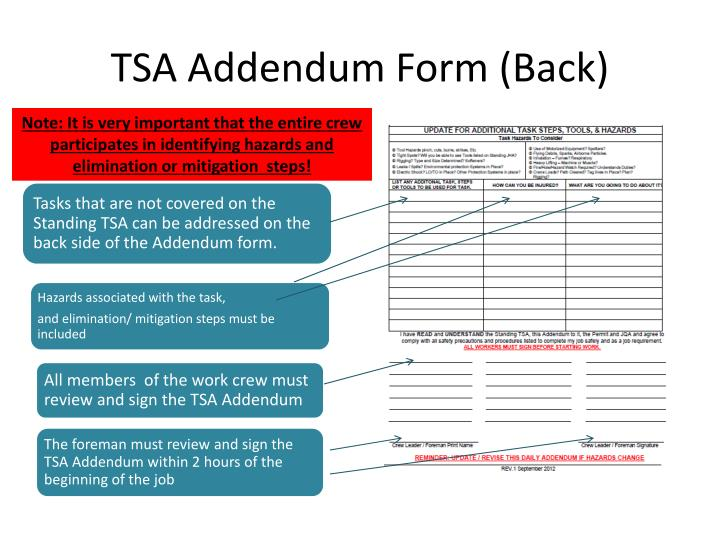 TSA Addendum Form (Back)