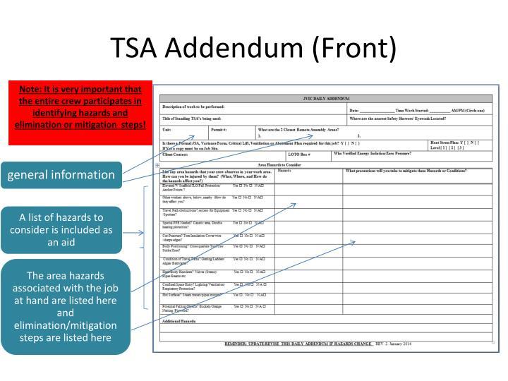 TSA Addendum (Front)