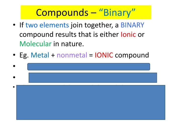 Compounds –