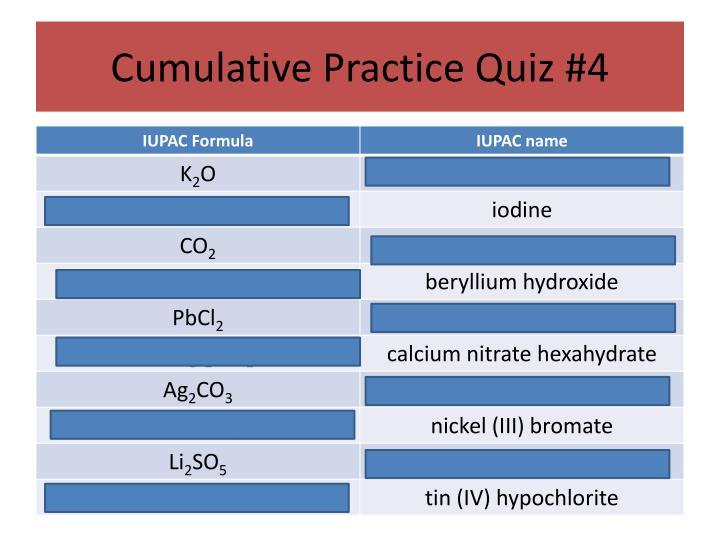 Cumulative Practice Quiz #4