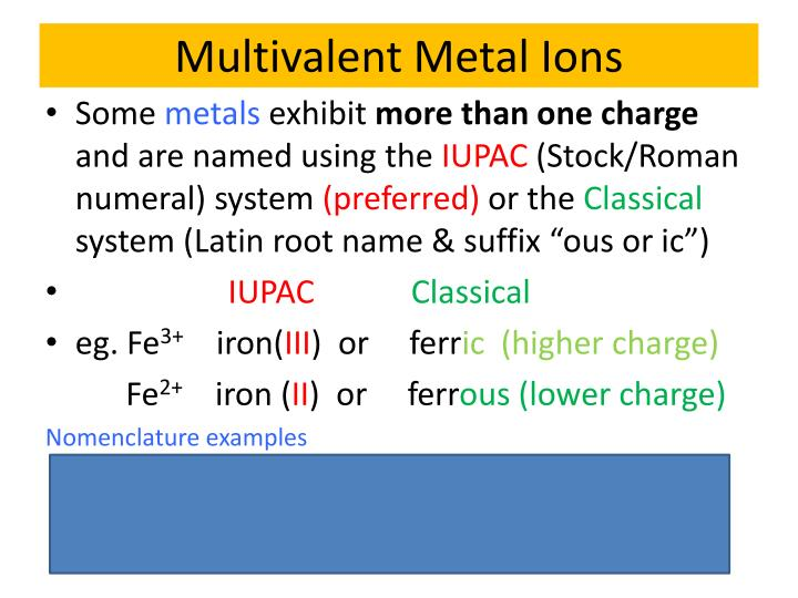 Multivalent Metal Ions