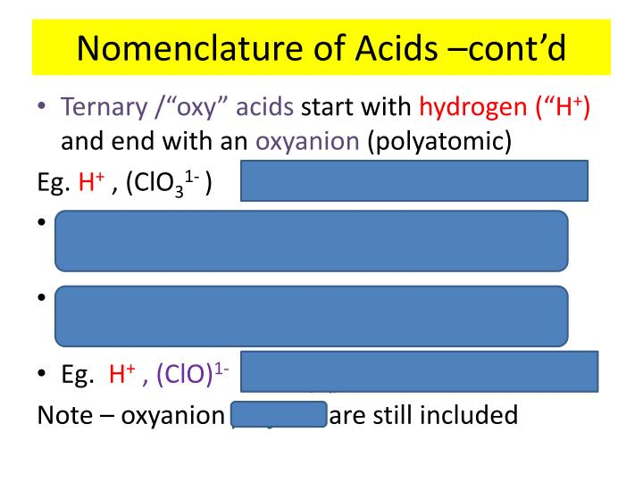 Nomenclature of Acids –cont'd