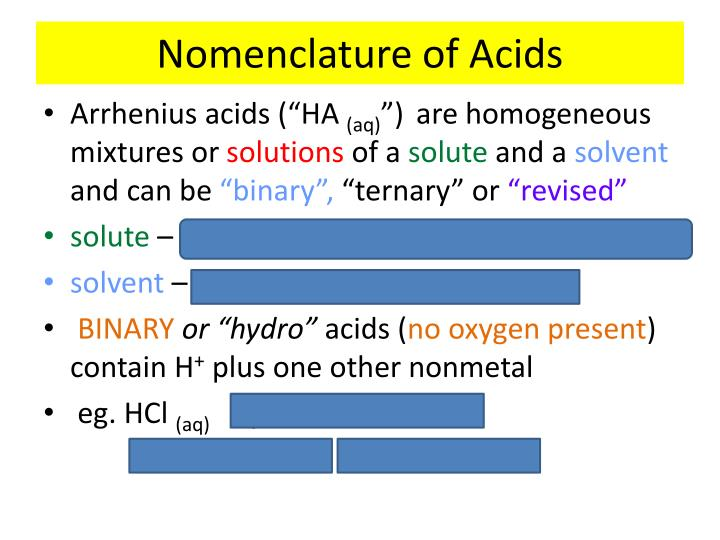 Nomenclature of Acids