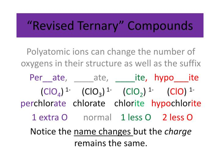 """Revised Ternary"" Compounds"