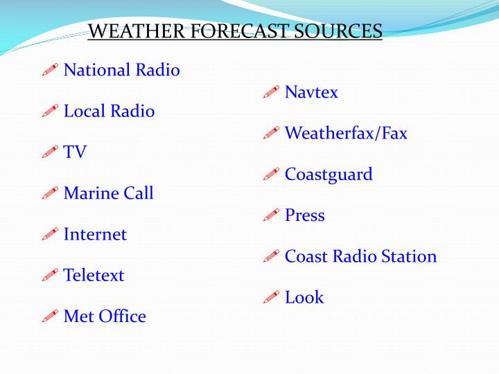 WEATHER FORECAST SOURCES