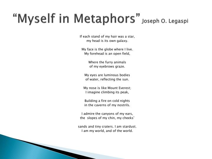 metaphor essay about yourself The power of metaphors jonathan collins january 4, 2014  that essay is called bluspels and  and you will find yourself among the great creators of metaphor.