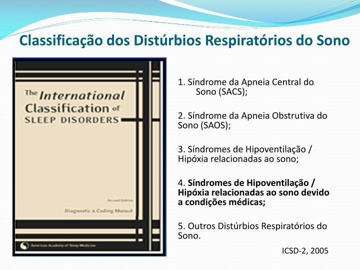 Classificação dos Distúrbios Respiratórios do Sono