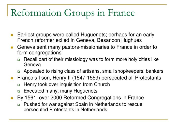 Reformation Groups in France