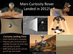 mars curiosity rover landed in 2012