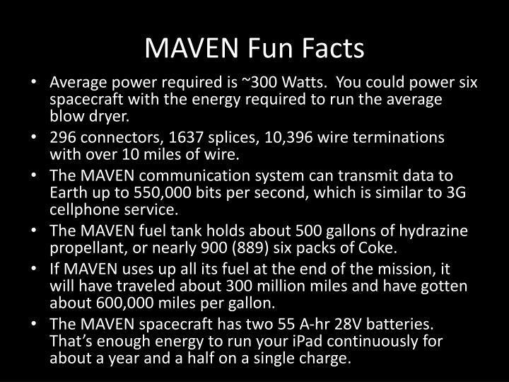 MAVEN Fun Facts