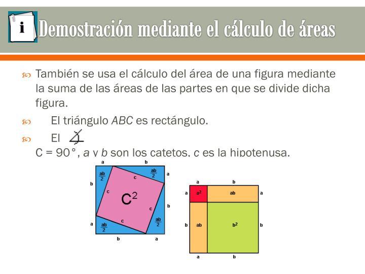 Demostración mediante el cálculo de áreas