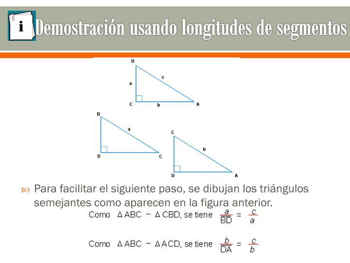 Demostración usando longitudes de segmentos