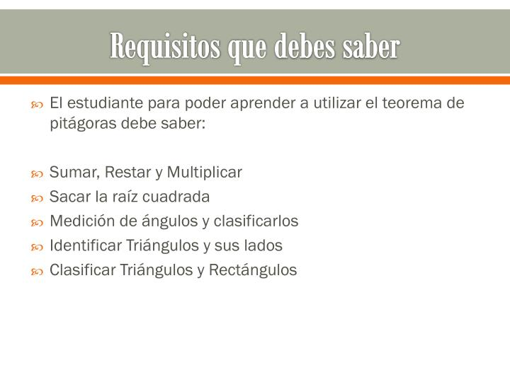 Requisitos que debes saber
