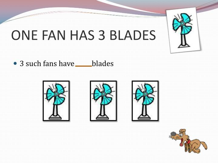 ONE FAN HAS 3 BLADES