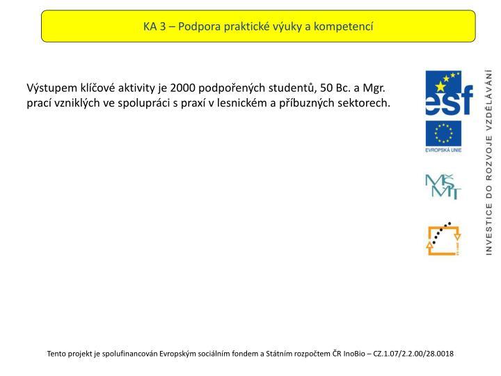 KA 3 – Podpora praktické výuky a kompetencí