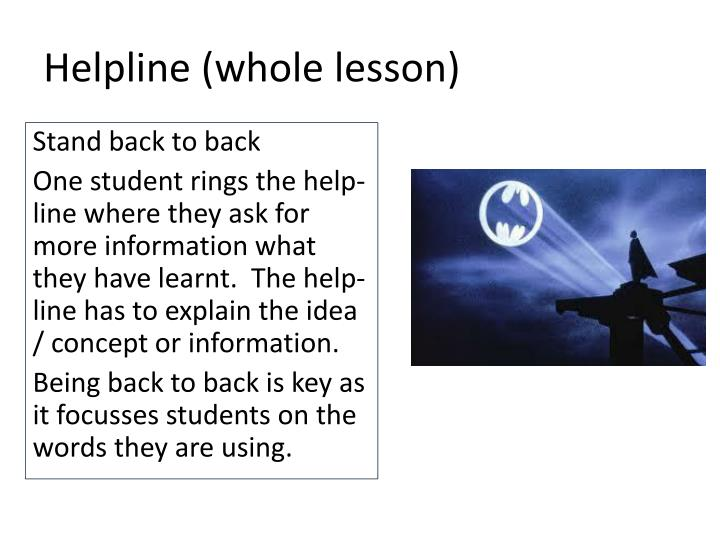 Helpline (whole lesson)
