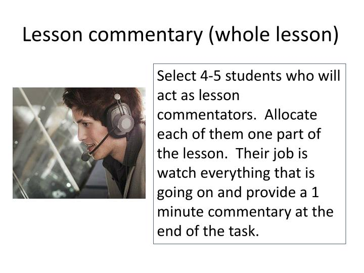 Lesson commentary (whole lesson)