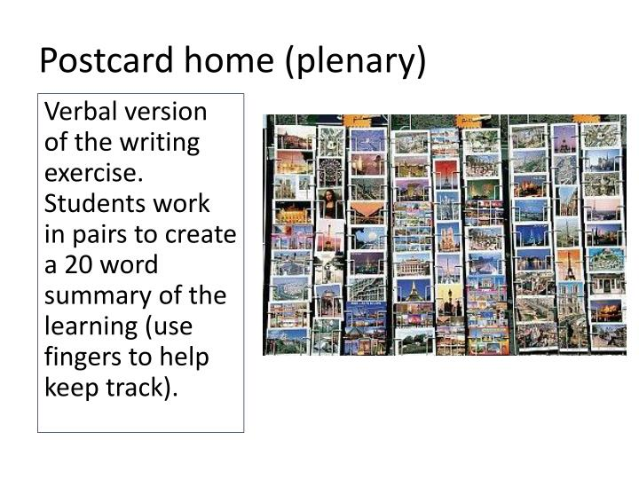 Postcard home (plenary)