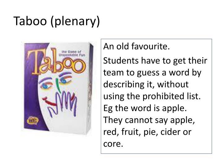 Taboo (plenary)