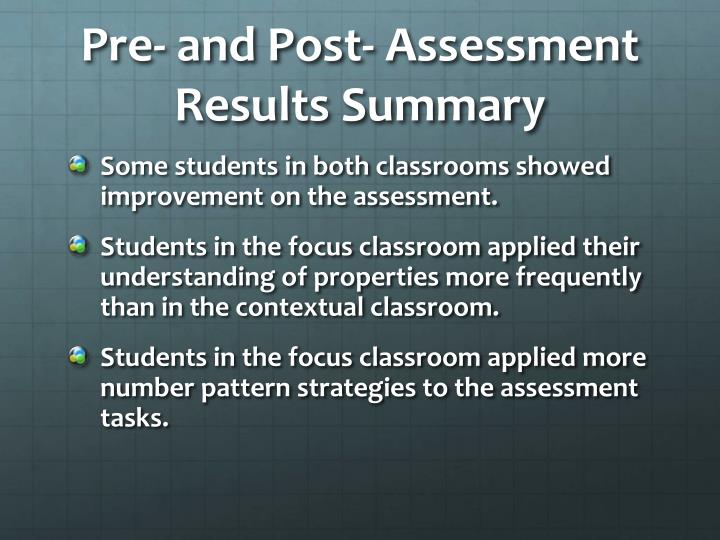 Pre- and Post- Assessment Results Summary