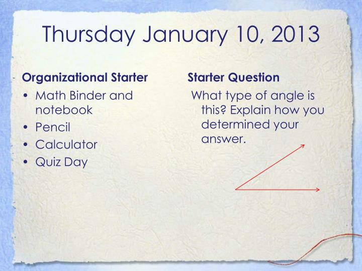 Thursday January 10, 2013