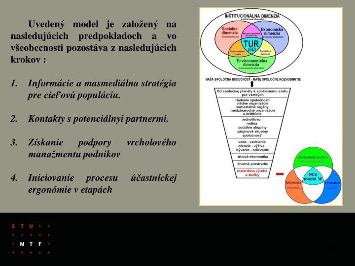 Uvedený model je založený na nasledujúcich predpokladoch a vo všeobecnosti pozostáva z nasledujúcich krokov :