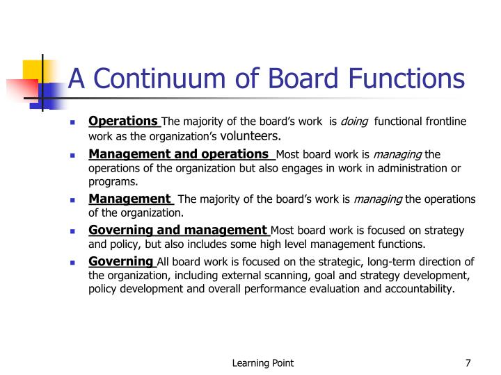 A Continuum of Board Functions