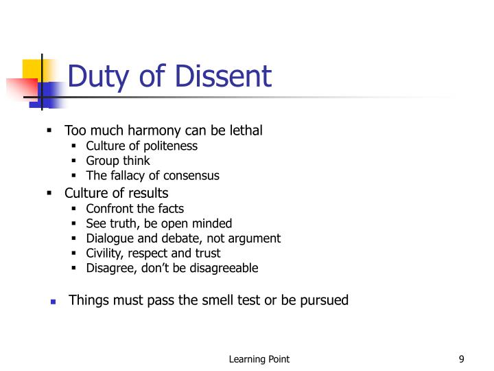 Duty of Dissent