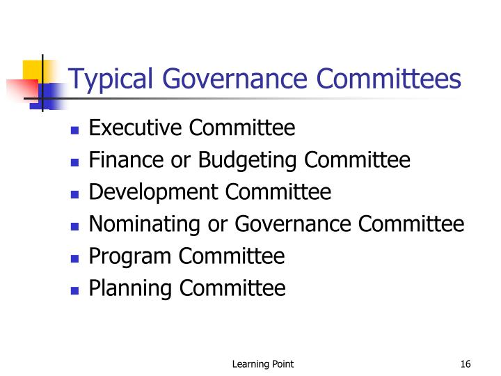 Typical Governance Committees